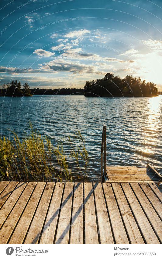 chillfaktor 10 Umwelt Natur Landschaft Himmel Wolken Horizont Sonne Sommer Schönes Wetter Pflanze Seeufer Strand Bucht Fjord Insel schön Schwimmen & Baden Steg