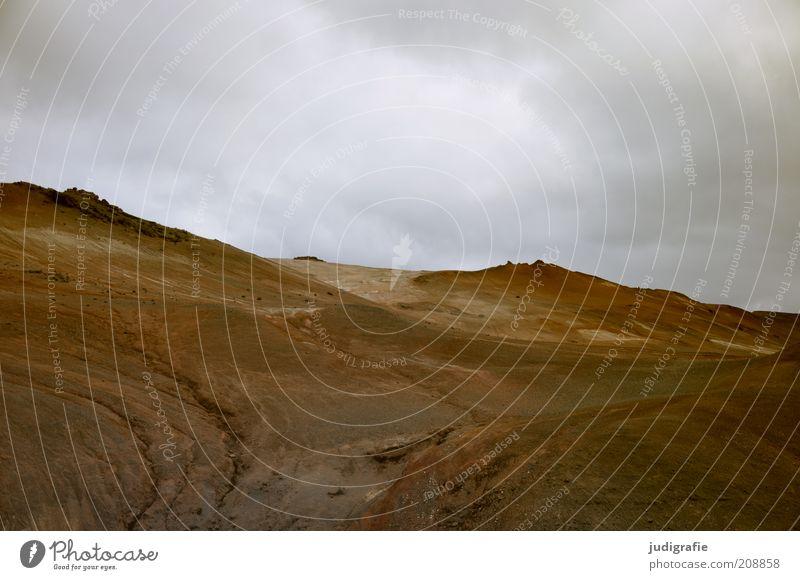 Island Umwelt Natur Landschaft Erde Himmel Wolken Klima Hügel Berge u. Gebirge Vulkan außergewöhnlich dunkel natürlich braun Stimmung Farbfoto Gedeckte Farben