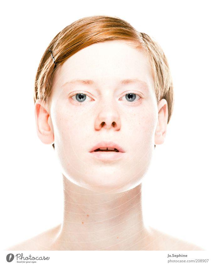 Jo. schön Mensch feminin Junge Frau Jugendliche Kopf 1 18-30 Jahre Erwachsene rothaarig Blick hell bewegungslos hypnotisch Freisteller Scheitel kurzhaarig