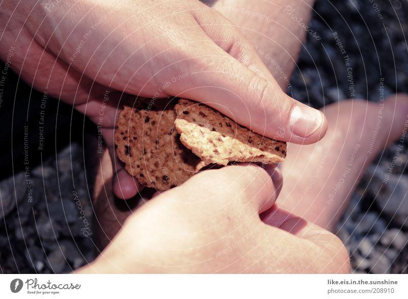 Enten füttern Sommer Hand ruhig Lebensmittel Finger festhalten lecker brechen Daumen Keks Krümel Aktion Mensch
