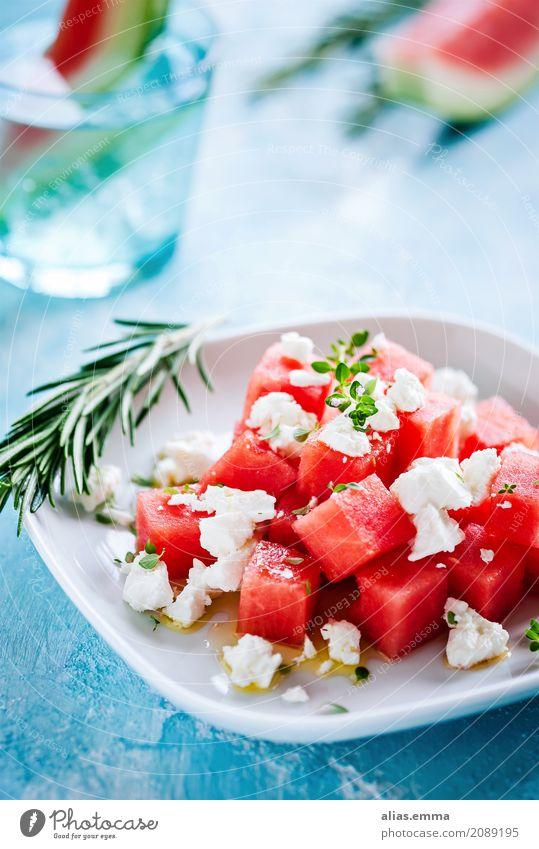 Wassermelonen-Feta Salat feta Schafskäse Sommer Gesunde Ernährung Speise Essen Foodfotografie Lebensmittel Kräuter & Gewürze sommerlich genießen fruchtig Frucht