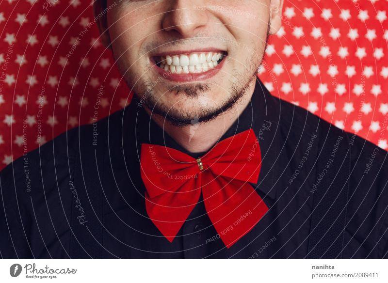 Junges stilvolles Mannlächeln Mensch Jugendliche Junger Mann weiß rot Freude 18-30 Jahre schwarz Erwachsene Lifestyle Stil Mode Feste & Feiern Stimmung maskulin