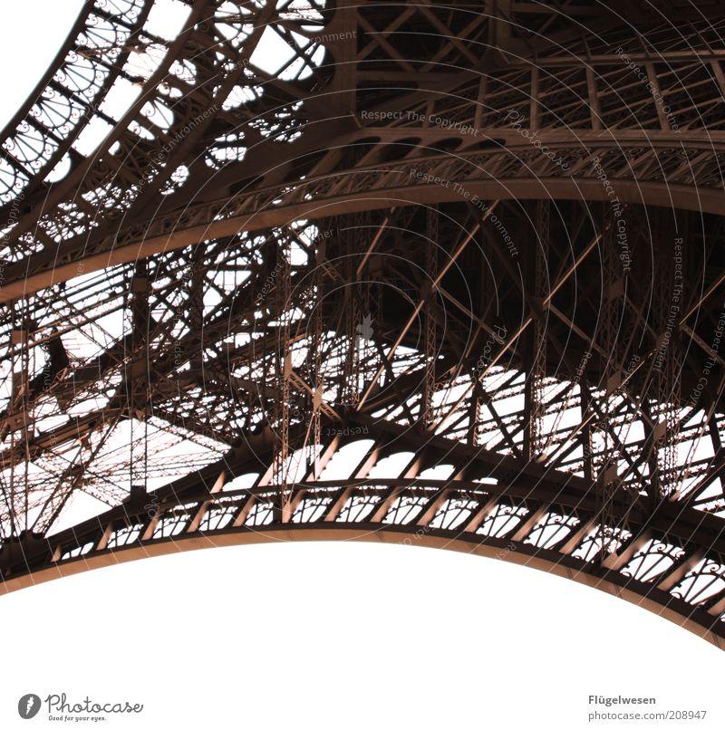 Pähriss Architektur hoch Turm Paris Stahl Wahrzeichen Frankreich Hauptstadt Sehenswürdigkeit Gerüst Tour d'Eiffel Gestell Stahlkonstruktion