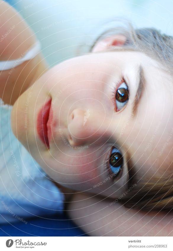 AugenBlick elegant Mensch Kind Mädchen 1 3-8 Jahre Kindheit Kleid brünett liegen schön weich blau weiß Reinheit Farbfoto Außenaufnahme Tag Blick in die Kamera