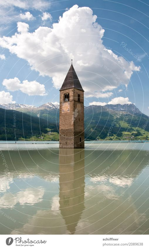 ...bis zum Hals Umwelt Landschaft Schönes Wetter See Kirche Ruine Bauwerk Sehenswürdigkeit Wahrzeichen Denkmal außergewöhnlich Kirchturm Kirchturmspitze
