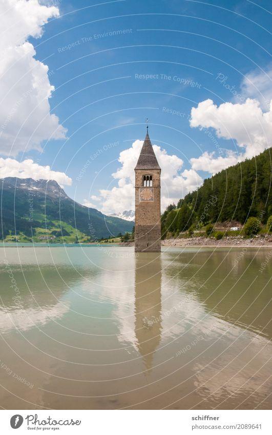 kaputt | geflutet Umwelt Natur Landschaft Himmel Wolken Sommer Schönes Wetter Wald Hügel Alpen Berge u. Gebirge See Kirche Turm Sehenswürdigkeit Wahrzeichen