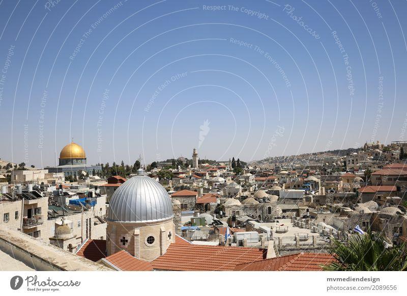 Blick auf die al-Aqsa-Moschee in Jerusalem Kultur lernen Al-Aksa Moschee Israel gold Kuppeldach Bauwerk Religion & Glaube Klagemauer Tempelberg Judentum Islam