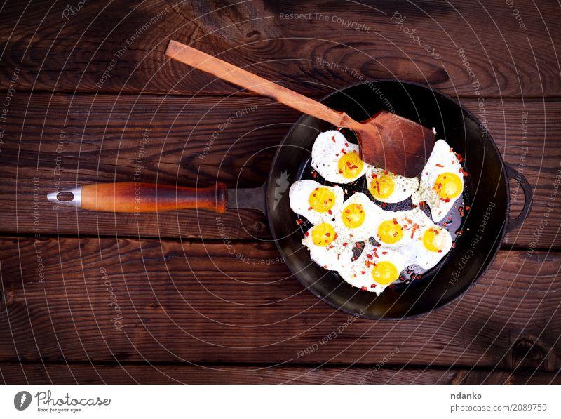 Speise Essen natürlich Holz braun oben retro Tisch Kräuter & Gewürze Küche Frühstück Fleisch Mahlzeit Top Löffel Futter