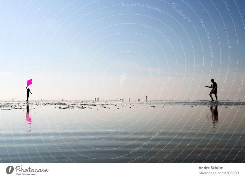 Family 53.889419 / 8.652141 Mensch Mann Wasser Mädchen weiß blau Sommer Ferien & Urlaub & Reisen Erholung Glück Zusammensein Küste Erwachsene rosa Wind Umwelt