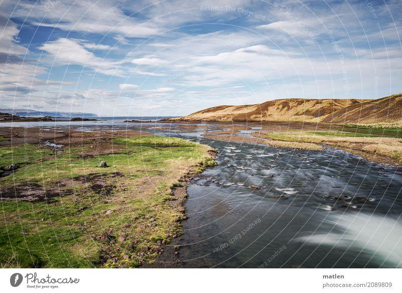 Mündung Himmel Natur blau grün weiß Sonne Landschaft Meer Wolken Strand Berge u. Gebirge gelb Frühling Küste Gras braun