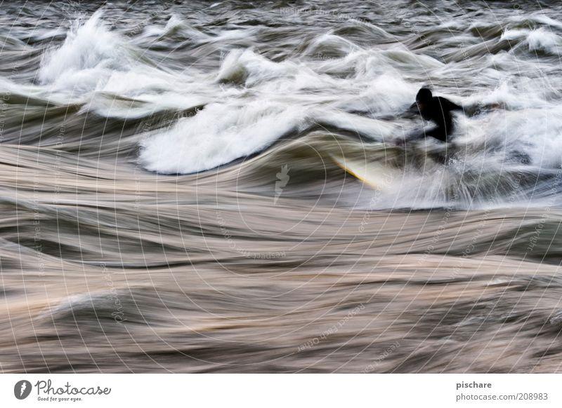Öl auf Leinwand Wasser Sport Bewegung Wellen Freizeit & Hobby ästhetisch gefährlich bedrohlich Fluss außergewöhnlich Flüssigkeit sportlich Surfen chaotisch Surfer