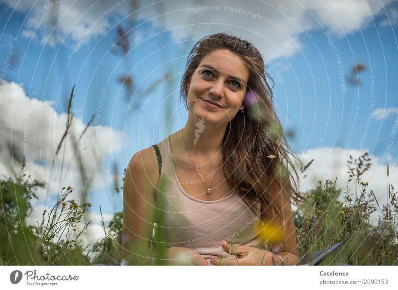 Sommer, Sommer Mensch Himmel Natur Jugendliche Pflanze blau Junge Frau schön grün weiß Blume Erholung Wolken 18-30 Jahre Erwachsene