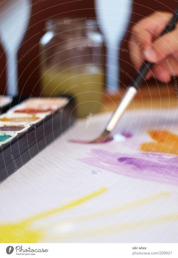 Kunstfilter Hand schön weiß Freude schwarz gelb Farbe Glück Zufriedenheit nass Papier Fröhlichkeit violett Kindheit malen