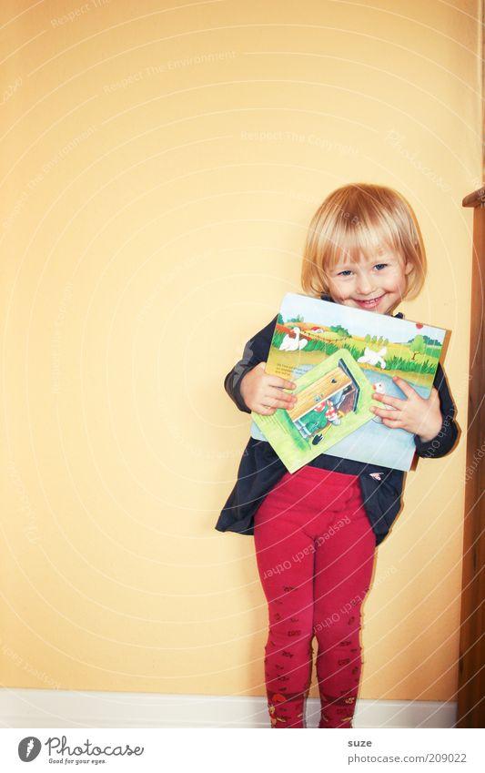 Hihi Mensch Kind rot Mädchen gelb Wand Spielen klein lachen blond Wohnung Kindheit warten Buch Fröhlichkeit lernen