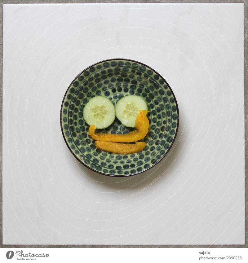foodface - duckface grün Gesicht Auge Essen gelb Lebensmittel Ernährung Mund rund Symbole & Metaphern lecker Gemüse Geschirr Gesichtsausdruck