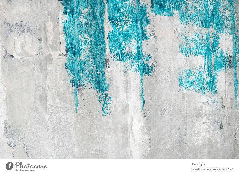 Blaue Farbe auf einer grunge Wand Design schön Dekoration & Verzierung Tapete Kunst Stoff Papier Beton alt dreckig hell retro blau türkis weiß Kreativität bg