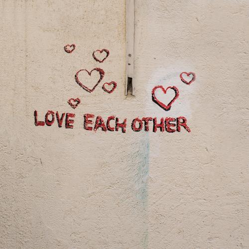 Frommer Wunsch Stadt rot Wand Graffiti Liebe Gefühle Gebäude Mauer Schriftzeichen Herz Zeichen Hoffnung Bauwerk Frieden harmonisch positiv