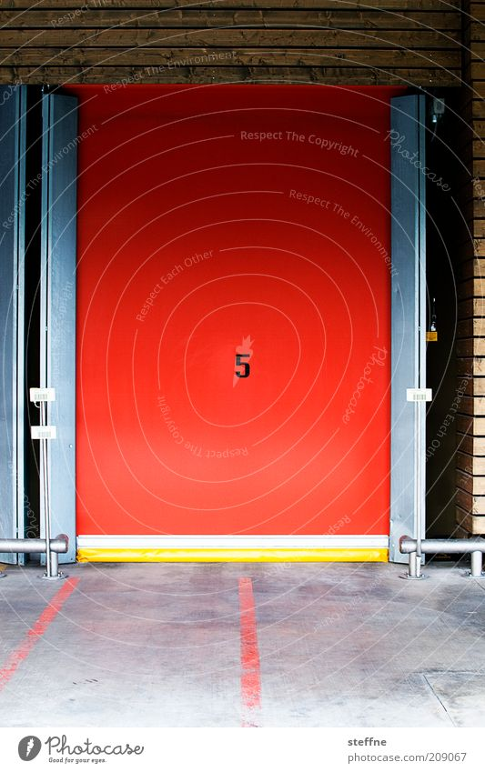 Nummer 5 lebt. rot Tür Ziffern & Zahlen Lagerhalle Bodenmarkierung Schiebetor Hallentor
