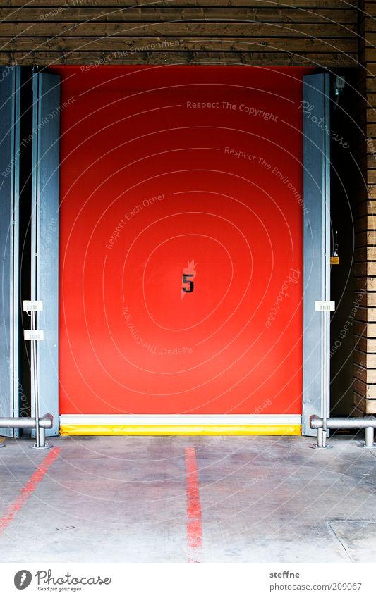 Nummer 5 lebt. rot Tür Ziffern & Zahlen 5 Lagerhalle Bodenmarkierung Schiebetor Hallentor
