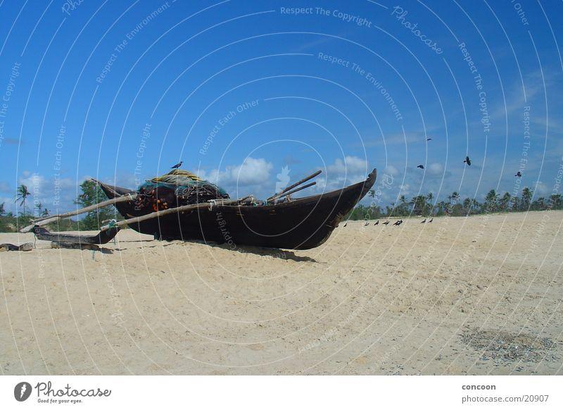 Goa White Sands Palme Strand Meer Wasserfahrzeug ruhig Indien Sonne Varca