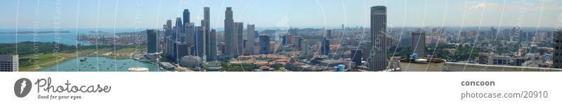 Skyline Singapore (180 Grad Panorama) Meer Stadt Erfolg Hochhaus Aussicht Hafen Malaysia