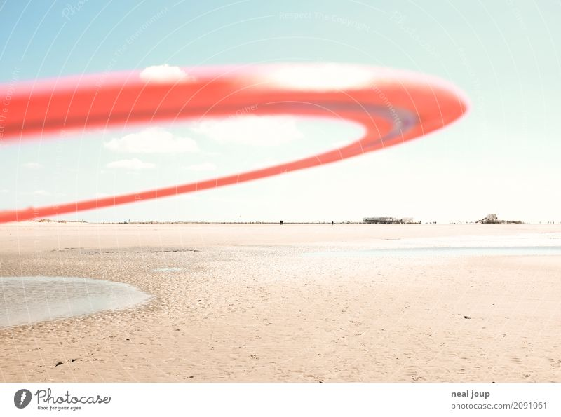 Fang mich doch! Spielen Ferne Frisbee Wurfring Küste Strand Nordsee St. Peter-Ording fangen Fitness rennen Sport toben werfen ästhetisch einfach frei