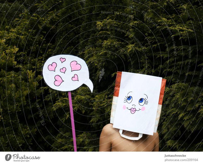 Love, Love Love Mensch Gesicht Liebe Junge Herz Schilder & Markierungen Papier Romantik Maske Freundlichkeit Zeichen Lächeln Idee Comic Verliebtheit Tüte
