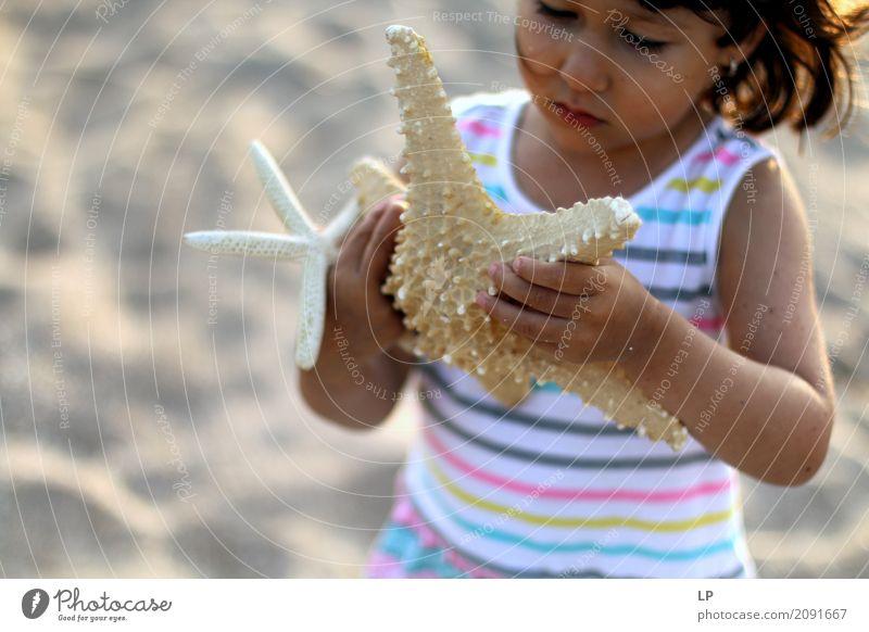 Kleines Mädchen, das Starfish hält Lifestyle schön Freizeit & Hobby Spielen Ferien & Urlaub & Reisen Sightseeing Sommerurlaub Sonne Sonnenbad Strand Meer