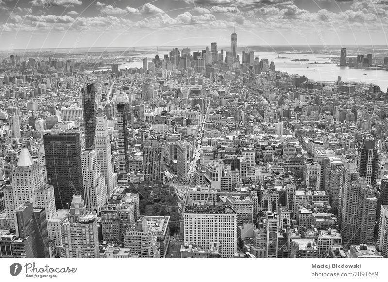 Luftbild von Manhattan Ferien & Urlaub & Reisen Stadt Architektur Straße Gebäude Stadtleben Häusliches Leben Büro Hochhaus USA Grafik u. Illustration