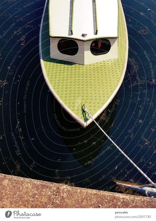 comic boot Design Urelemente Wasser Sommer Schönes Wetter See Schifffahrt Motorboot Hafen Bullauge retro Kontrast altehrwürdig Anlegestelle Seil Wasserfahrzeug