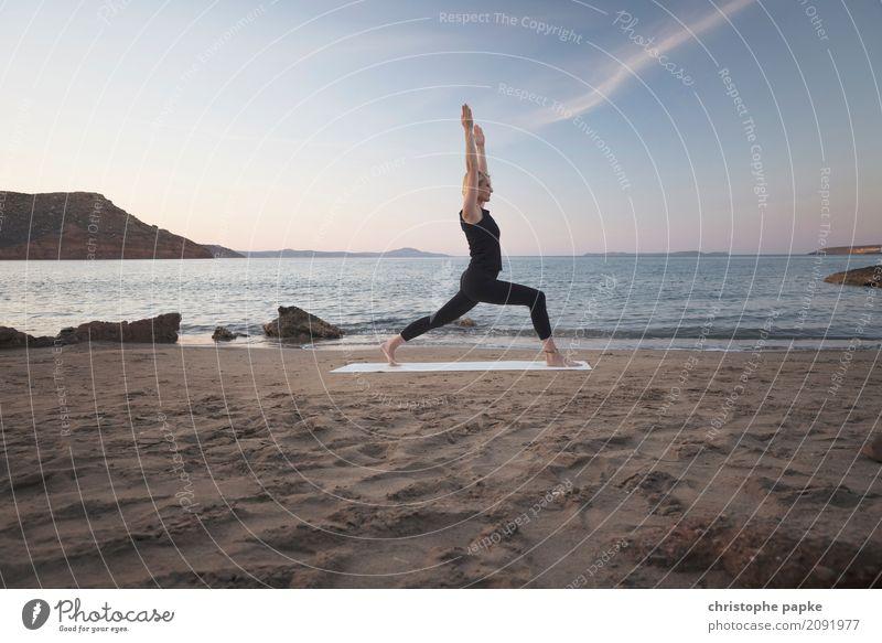 Asana mit View harmonisch Wohlgefühl Zufriedenheit Sinnesorgane Erholung ruhig Meditation Freizeit & Hobby Ferien & Urlaub & Reisen Sommer Sommerurlaub Strand