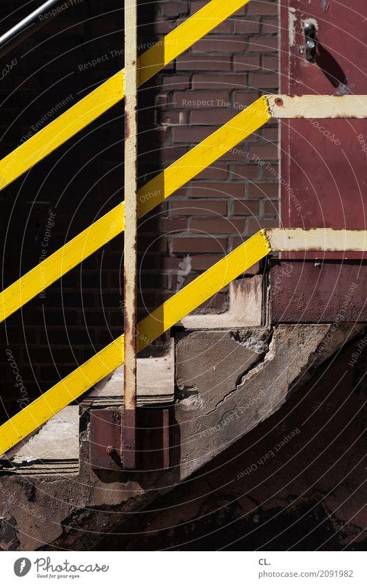 treppe Baustelle Menschenleer Mauer Wand Treppe Tür Stein Holz alt kaputt gelb Wege & Pfade aufwärts Farbfoto Außenaufnahme Textfreiraum unten Tag
