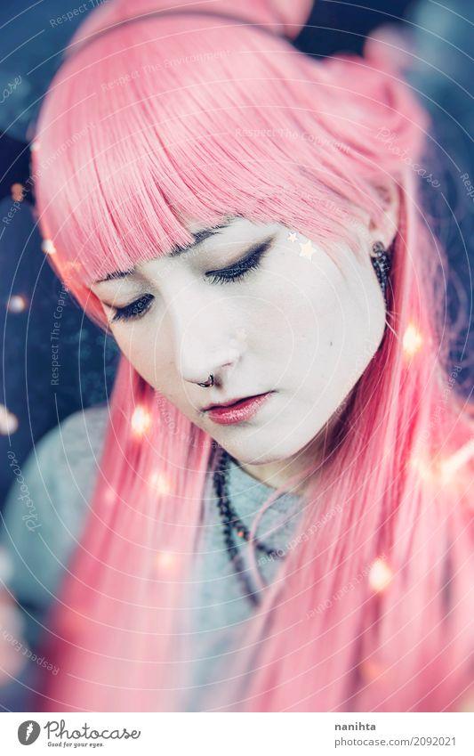 Mensch Jugendliche blau Junge Frau schön weiß ruhig 18-30 Jahre Erwachsene feminin Stil Kunst Haare & Frisuren Mode rosa glänzend