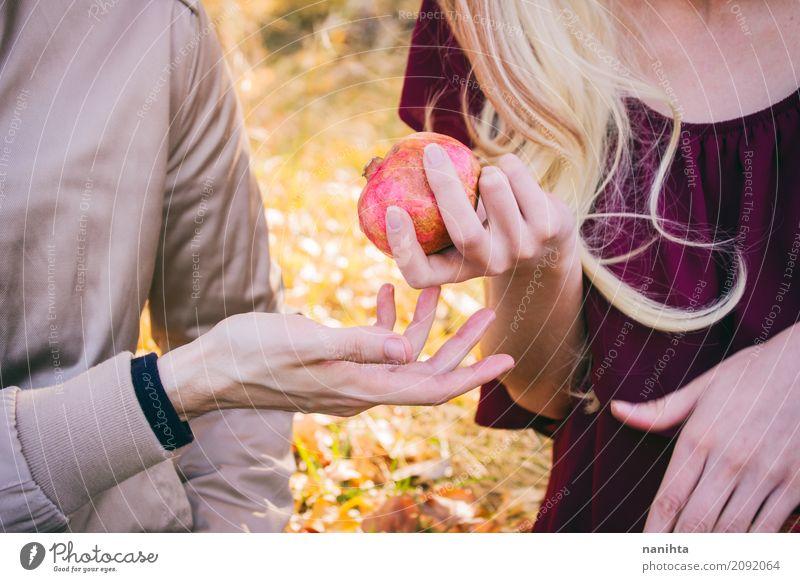 Junge Paare, die einen Granatapfel teilen Mensch Jugendliche Junge Frau Junger Mann Hand 18-30 Jahre Erwachsene Gesundheit natürlich feminin