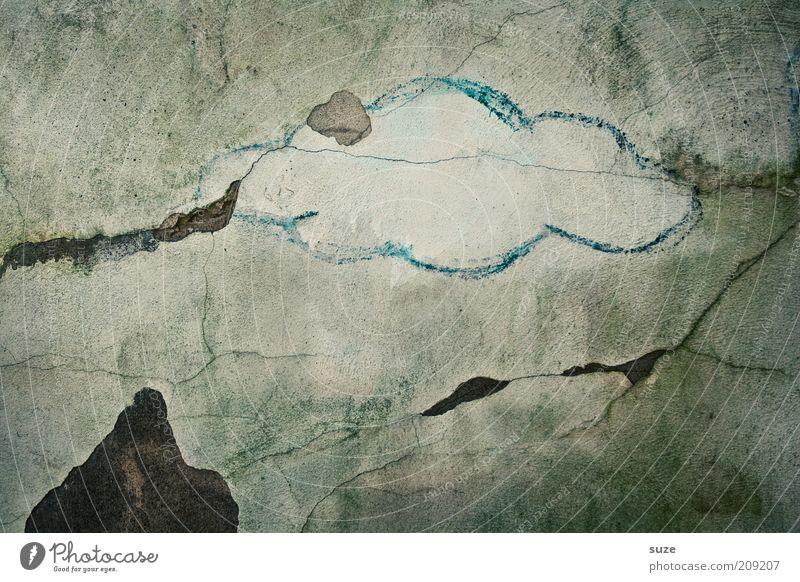 *800* Wetterfront Himmel blau alt Wolken dunkel Berge u. Gebirge Graffiti Wand Mauer grau Stein Kunst Regen Fassade trist