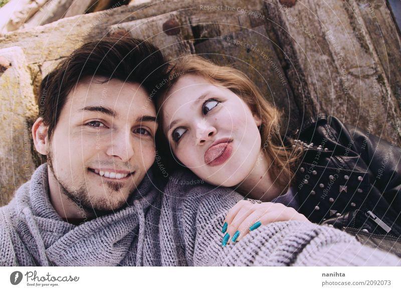 Junge Paare, die Spaß zusammen haben Mensch Jugendliche Junge Frau Junger Mann 18-30 Jahre Erwachsene Leben Lifestyle Liebe feminin Stimmung Zusammensein