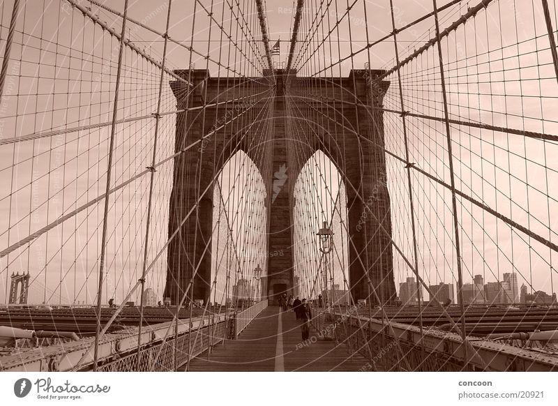 New York Brooklyn Bridge 2003 Brücke USA Brooklyn Stahl New York City Sepia Hängebrücke Brooklyn Bridge Stahlbrücke