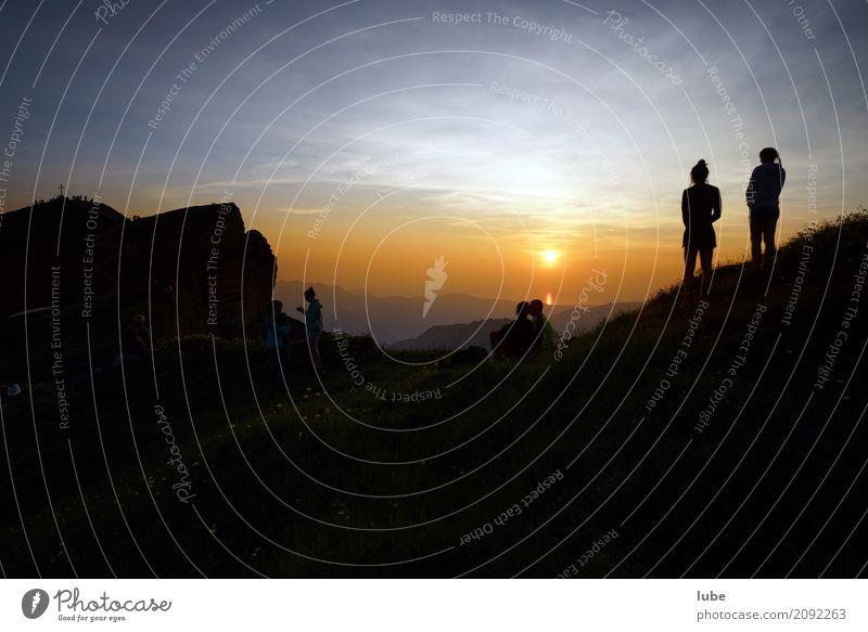Sonnenuntergang Ferien & Urlaub & Reisen Tourismus Ausflug Abenteuer Ferne Freiheit Sommer Sommerurlaub Berge u. Gebirge wandern Umwelt Natur Landschaft Himmel