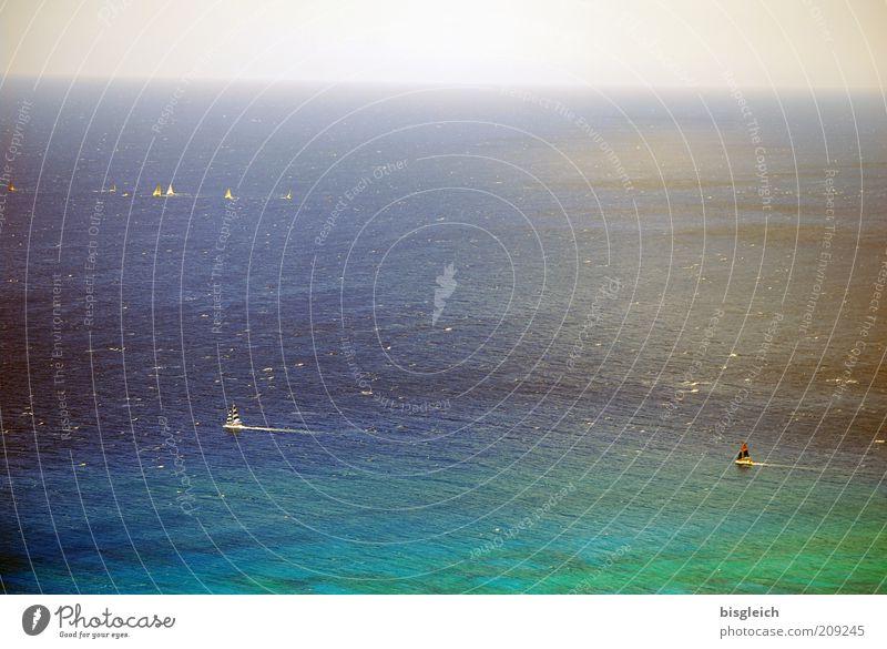 Pazifik Wasser Meer grün blau ruhig Ferne Horizont Gelassenheit Schifffahrt Segelboot Luftaufnahme