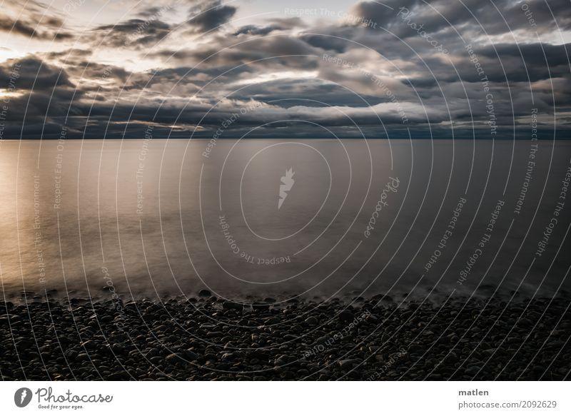 kalter Strand Natur Landschaft Luft Wasser Himmel Wolken Horizont Sonnenaufgang Sonnenuntergang Frühling Wetter Schönes Wetter Küste Meer dunkel maritim blau
