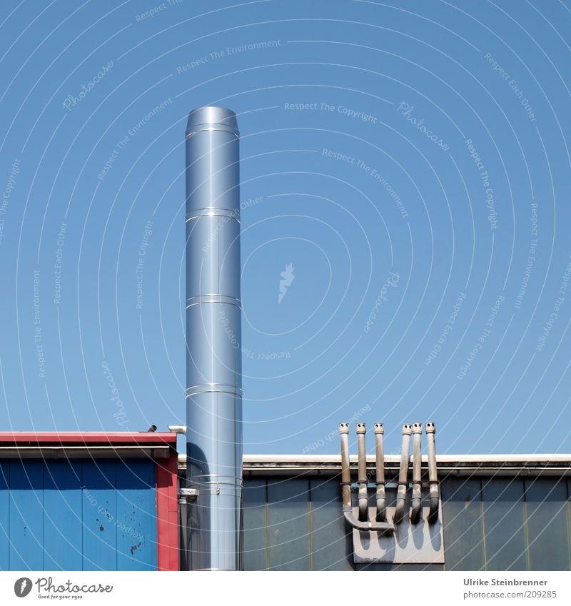 Exhausted Blue II (HH AST 5/10) Himmel blau Luft Metall glänzend Dach Röhren Hütte Schornstein Anstrich Gebäude Edelstahl Belüftung Flachdach Holzhütte Abluft