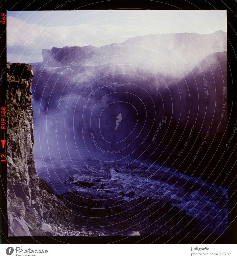 Island Natur kalt dunkel Berge u. Gebirge Landschaft Umwelt Stimmung Wetter nass Nebel Wassertropfen Felsen Klima natürlich wild Fluss