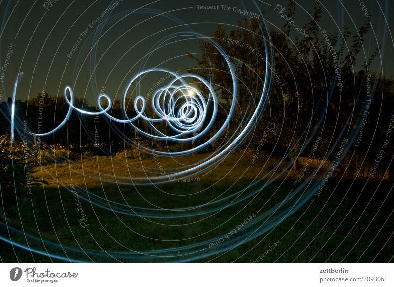 Blinkern im Garten Pflanze Wachstum Schrebergarten Lichterscheinung Langzeitbelichtung Spirale Verwirbelung kreisen signalisieren Nacht Illumination