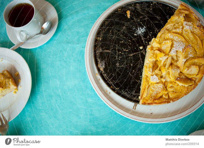 Apfelkuchen Ernährung gelb Lebensmittel gold Frucht ästhetisch süß Tee Geschirr Kuchen lecker trashig Duft Teilung türkis Tasse