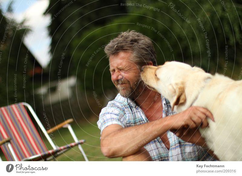 katzen...äh..hundewäsche Garten Mensch maskulin Mann Erwachsene 1 45-60 Jahre Hemd brünett kurzhaarig Vollbart Haustier Hund Tier sitzen frech Zusammenhalt