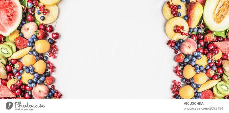 Sommer Obst und Berren Lebensmittel Frucht Apfel Orange Ernährung Bioprodukte Vegetarische Ernährung Diät kaufen Stil Design Gesundheit Gesunde Ernährung Beeren