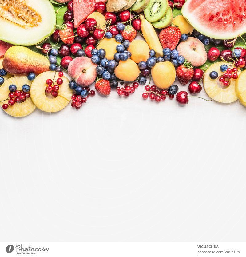 Sommer Obst für gesundes Essen Lebensmittel Frucht Apfel Orange Ernährung Bioprodukte Vegetarische Ernährung Diät Stil Design Gesundheit Gesunde Ernährung