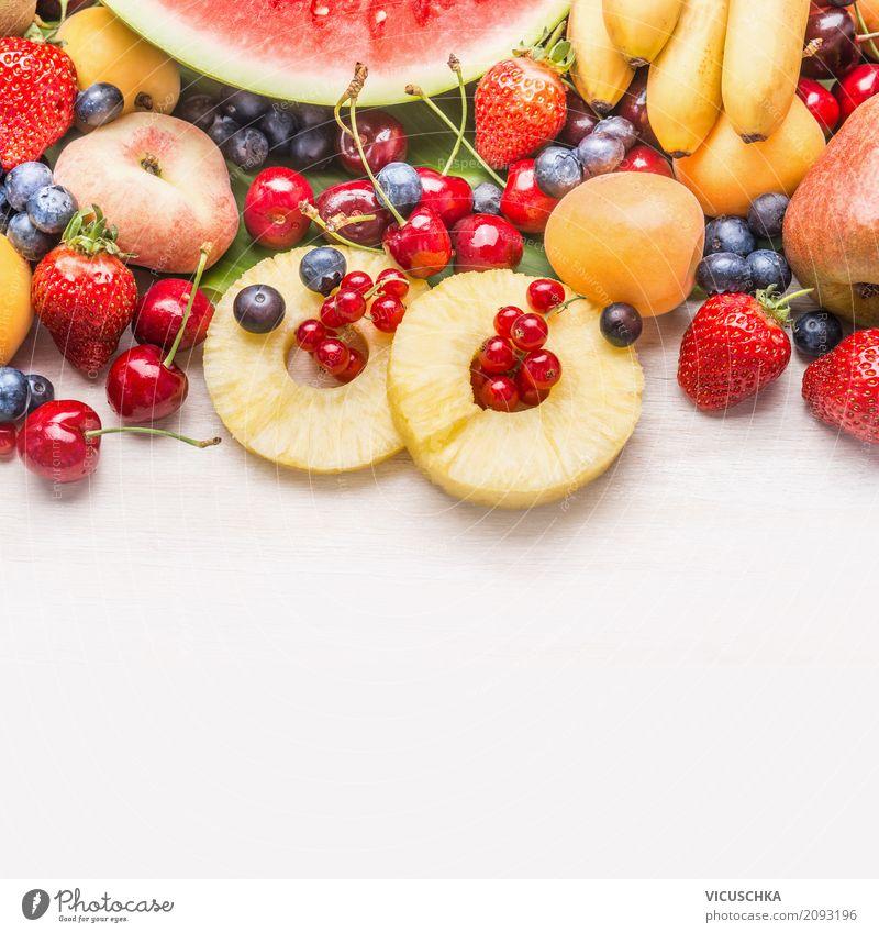Sommer Obst und Beeren Lebensmittel Frucht Apfel Dessert Ernährung Bioprodukte Vegetarische Ernährung Diät Saft Stil Design Gesundheit Gesunde Ernährung