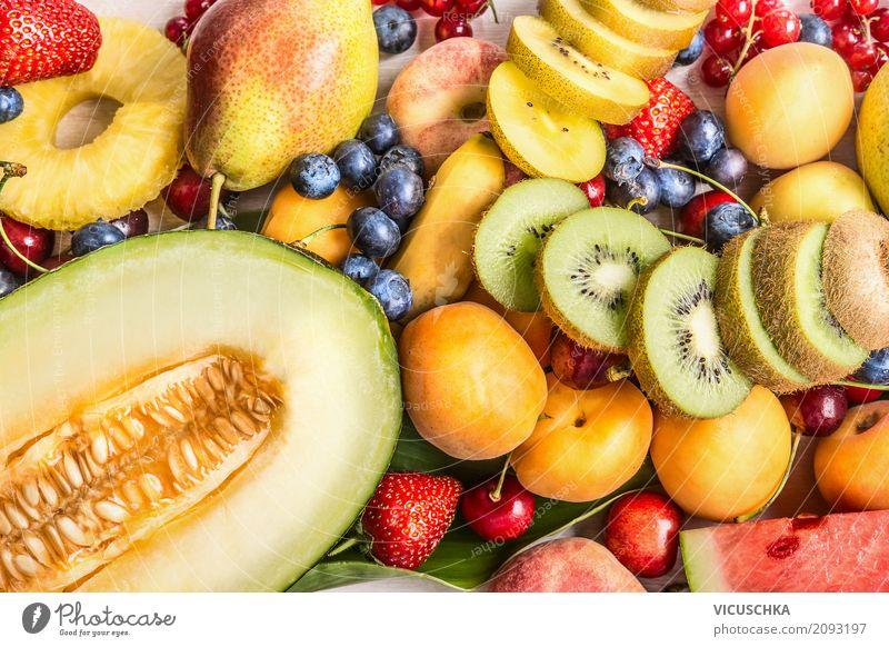Vielzahl von bunten Sommer Früchte Lebensmittel Frucht Dessert Ernährung Bioprodukte Vegetarische Ernährung Diät kaufen Stil Design Gesunde Ernährung gelb