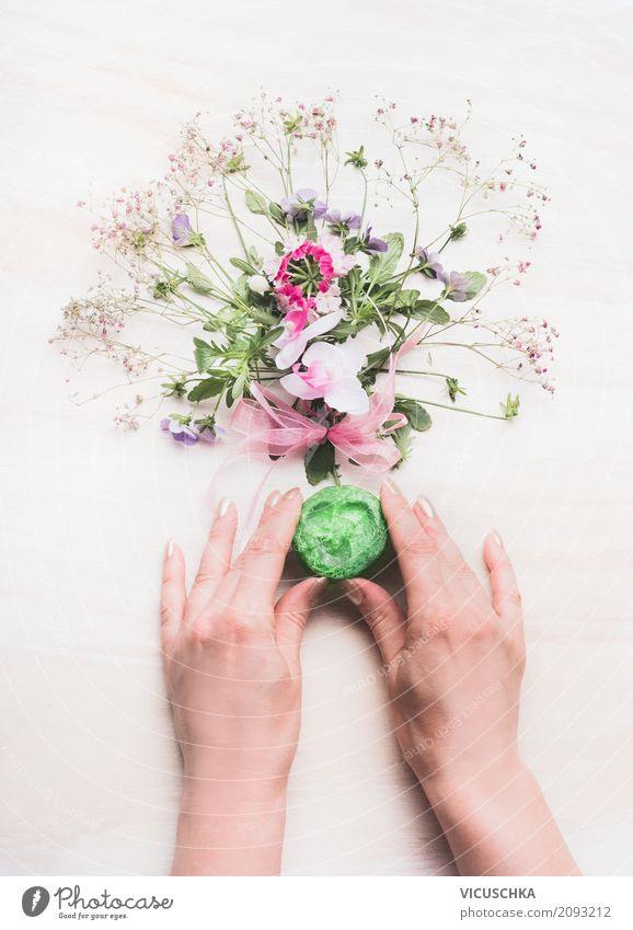 Weibliche Hände halten handgemachte grüne Seife Frau Natur Pflanze schön Hand Blume Erwachsene Gesundheit feminin Stil Design Beautyfotografie Körperpflege